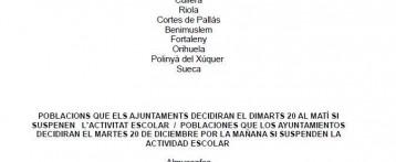Algunos colegios de las provincias de Alicante y Valencia siguen cerrados el martes 20 de diciembre